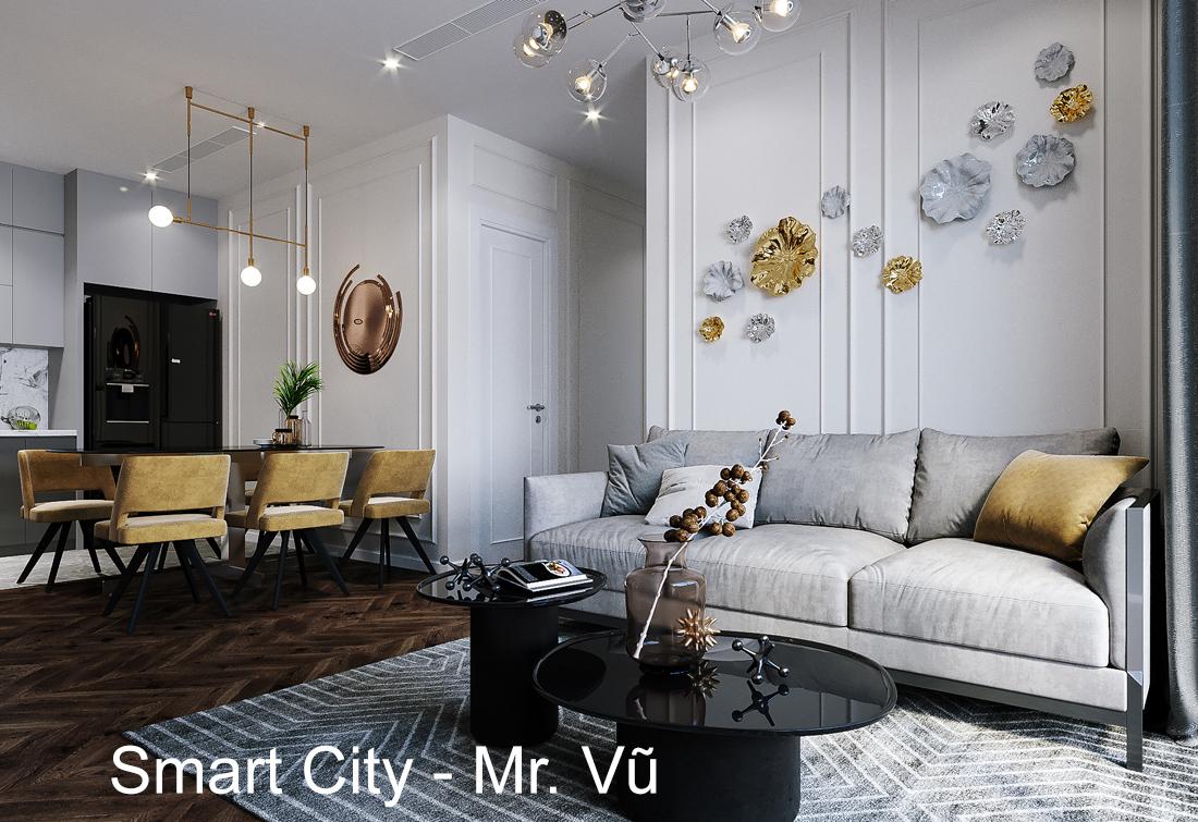 Thiết kế thi công nội thất Smart City tòa S2.02 căn 12 – Mr. Vũ