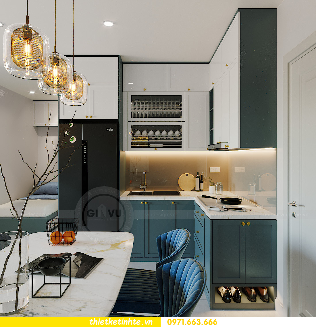 thiết kế nội thất Smart City tòa S201 căn hộ 2218 chị Quỳnh 1