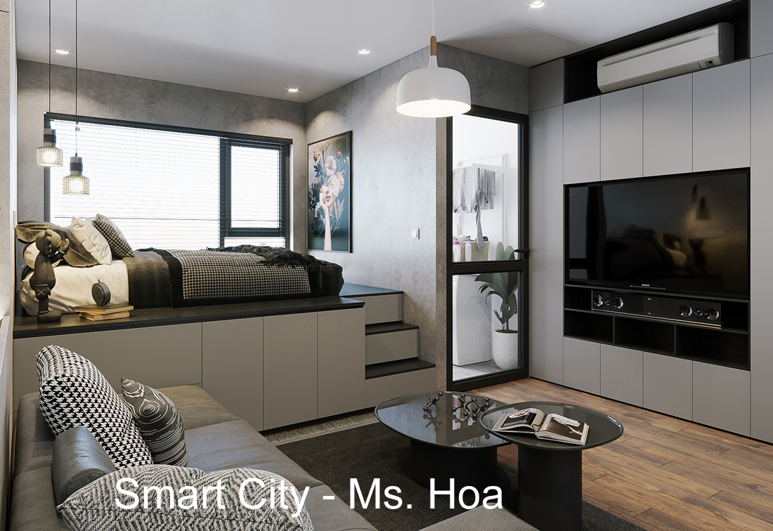 Mẫu thiết kế nội thất căn hộ Studio tòa S101 căn 03 Smart City