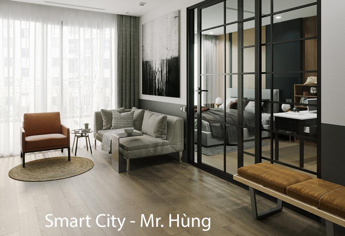 Thiết kế nội thất căn hộ 1PN + 1 tại Vinhomes Smart City