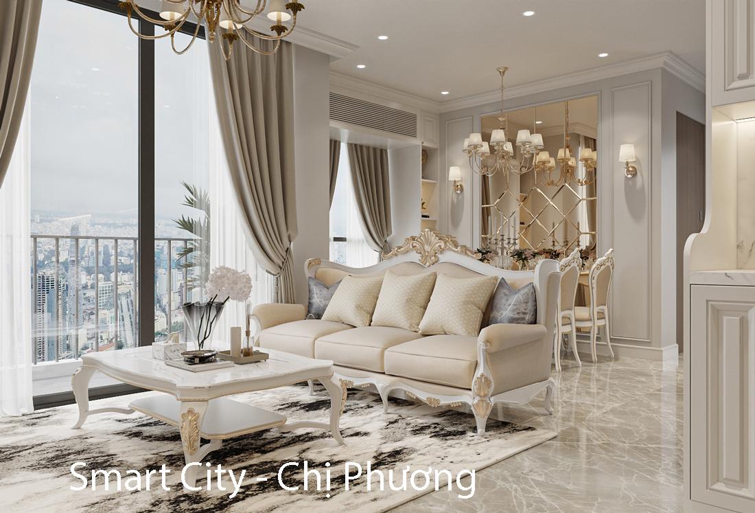 Thiết kế nội thất căn hộ Smart City theo phong cách tân cổ điển