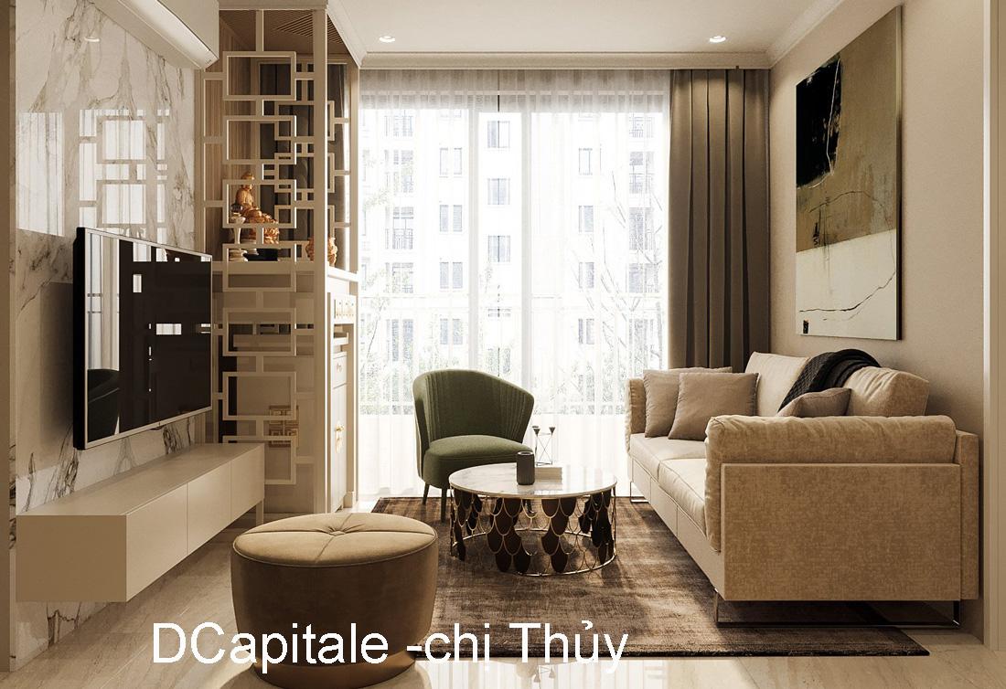Thiết kế nội thất căn hộ 2 ngủ hiện đại tại Vinhomes DCapitale