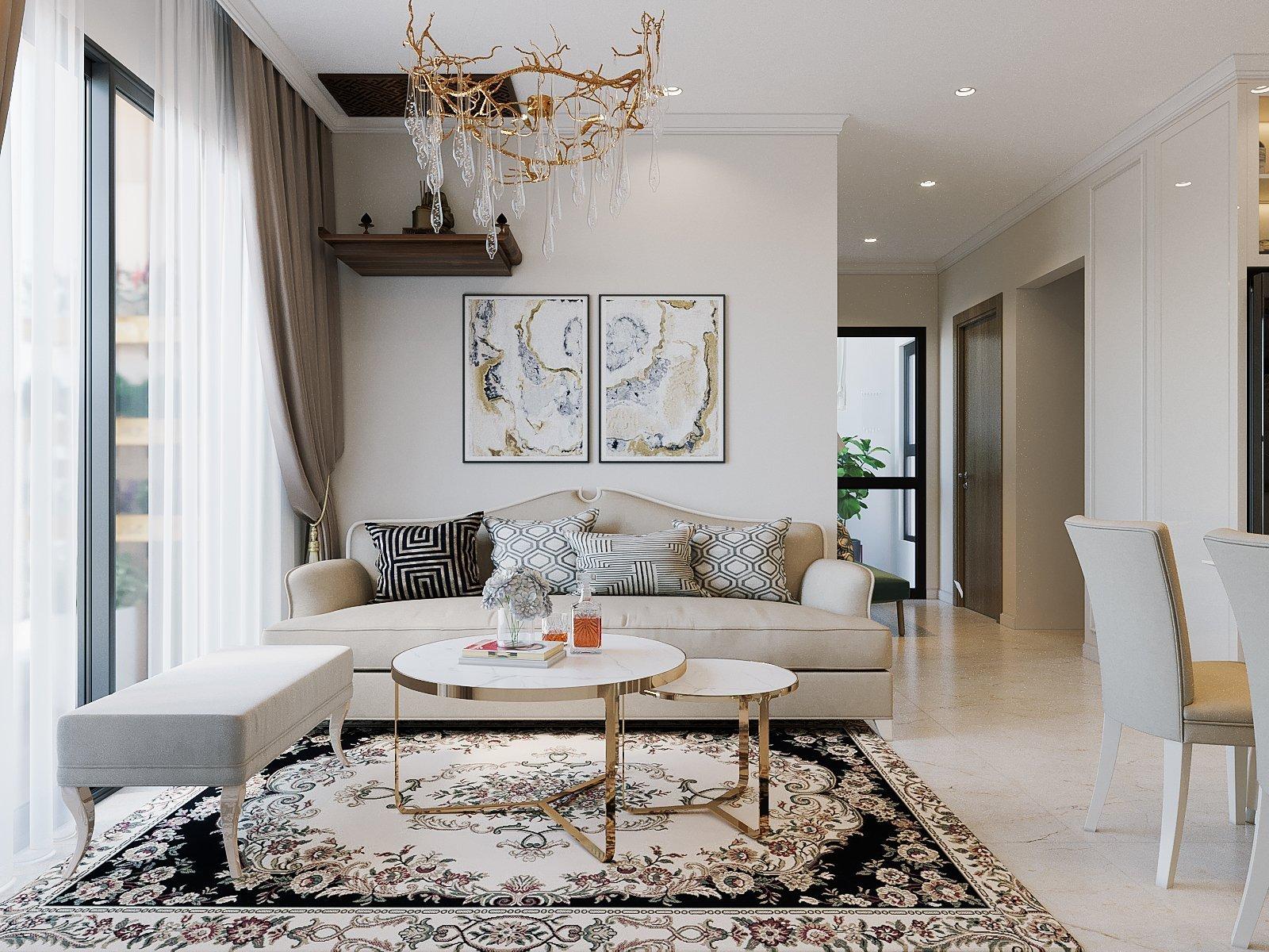 Thiết kế nội thất Smart City tòa S106 căn hộ 2 ngủ + 1